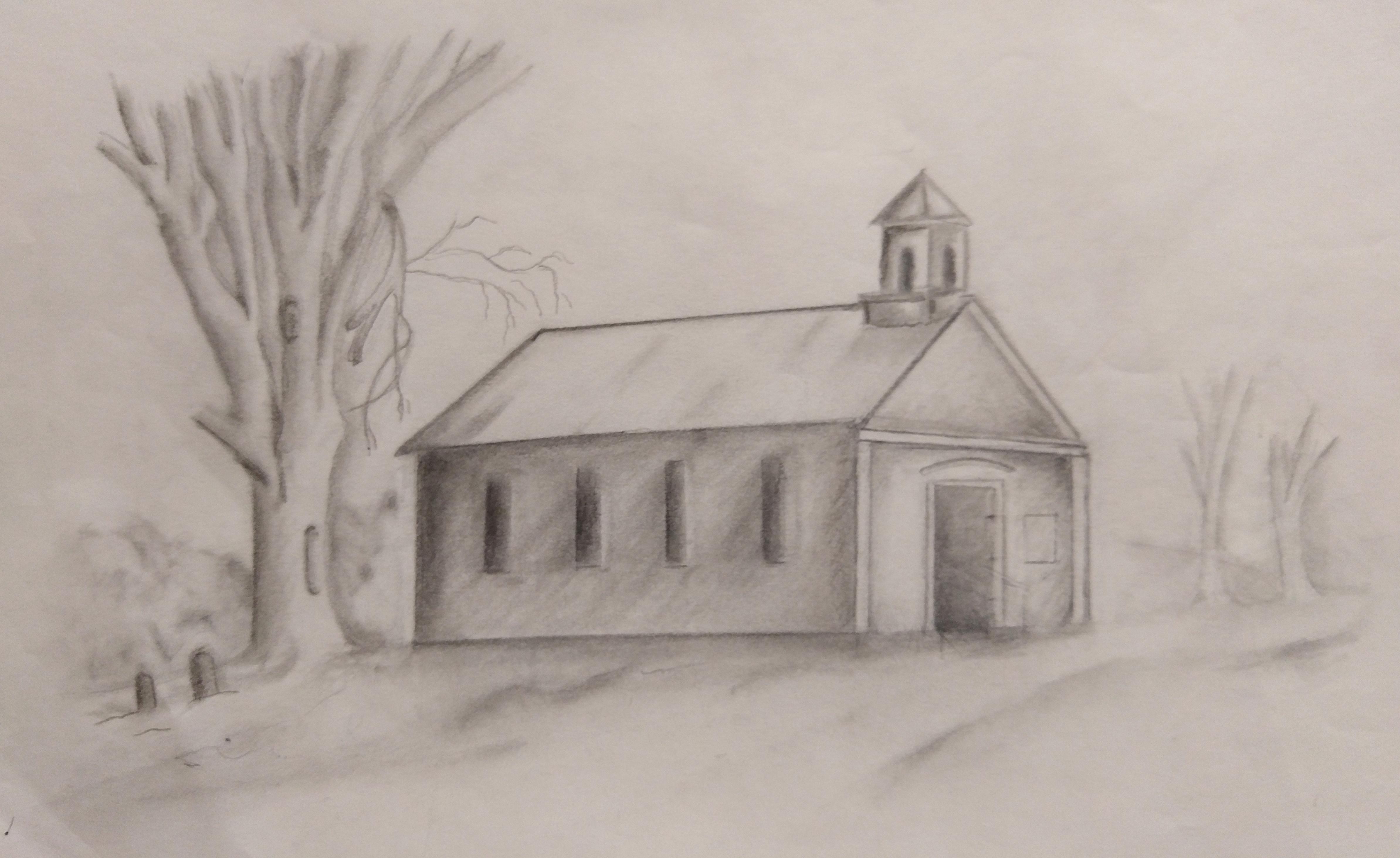 Ohio church pencil drawing